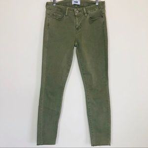 PAIGE Olive Green Verdugo Ankle Skinny Jeans